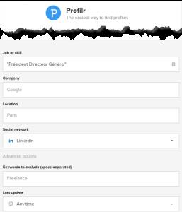 Recherche LinkedIn Profilr